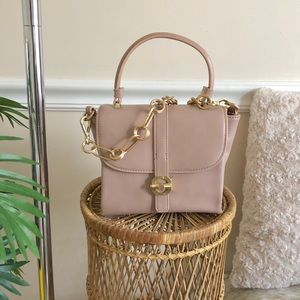 ZARA Blush Pink Top Handle Gold Chain Strap Bag